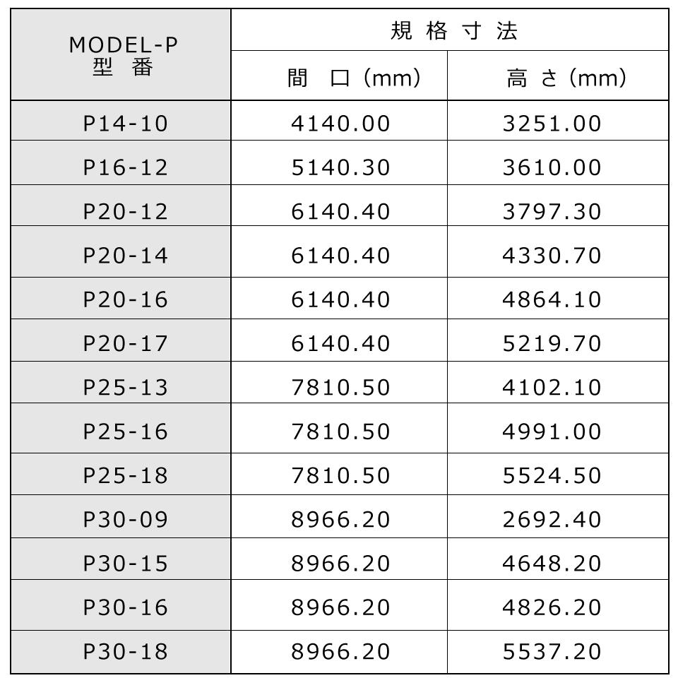 Model-Pサイズガイド